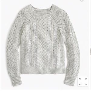 Jcrew cable knit sequined sweater size large